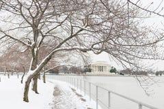 Washington DC - Jefferson pomnik w zimie zdjęcie royalty free