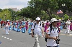 Washington DC, am 4. Juli 2017: Amerikaner in der Parade am 4. Juli vom Washington DC in USA Lizenzfreies Stockbild