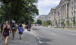 Washington DC juli 4th 2017: Gatasikt på 4th Juli från Washington DC i USA Fotografering för Bildbyråer