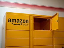 Amazon Locker location in front of local store royalty free stock images