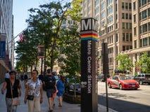 WMATA Metro Center subway stop marker above ground stock photography