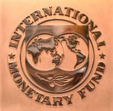 Washington, DC - June 04, 2018: Emblem of International Monetary. Fund on the Headquarters 2 Building HQ2 in DC royalty free stock photography