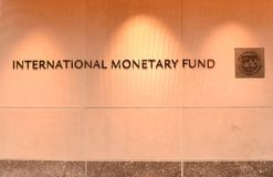 Washington, DC - June 04, 2018: Emblem of International Monetary. Fund on the Headquarters 2 Building HQ2 in DC Royalty Free Stock Photos