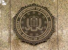 Washington, DC - June 02, 2018: FBI, Federal Bureau of Investigation seal on the Headquarters Edgar Hoover FBI Buildingin in Wash stock images
