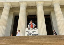 Washington, DC - June 01, 2018: Gale McCray, a 75 year old retiree from Fort Worth, TX who calls himself Old Man With a Sign ma stock image