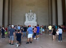 Washington, DC - June 01, 2018: Tourists near the statues of Abr royalty free stock photography