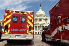 Washington DC - Juni 01, 2018: Ambulansbil framme av enigt Royaltyfria Foton