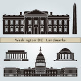 Washington DC landmarks and monuments. Isolated on blue background in editable vector file Royalty Free Stock Photos