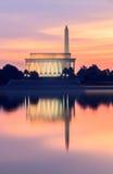 Washington DC Landmarks Pink Sunrise royalty free stock images