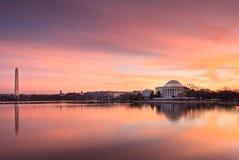 Washington DC Landmarks at Sunrise. Washington DC landmarks in the pink glow of sunrise over the Tidal Basin on the National Mall Royalty Free Stock Photography