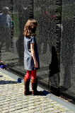 Washington, DC: Little Girl at Vietnam War Memorial Stock Photos