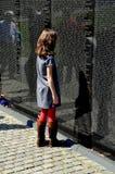 Washington, DC: Little Girl at Vietnam War Memorial stock photos