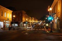 WASHINGTON DC, los E.E.U.U. - 16 de mayo de 2018 - calles de Georgetown en la noche en día lluvioso Fotografía de archivo libre de regalías