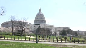 Washington DC, los E.E.U.U. - edificio capital en primavera con disparo al campo metrajes