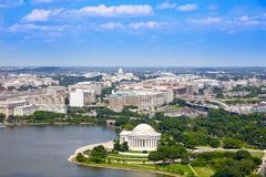Washington DC luchtthomas jefferson memorial stock afbeeldingen