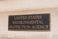 Environmental Protection Agency sign. WASHINGTON, DC - MARCH 14, 2018: Environmental Protection Agency sign at the EPA Building in Washington, DC stock photos