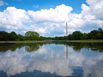 Washington Dc Monument från konstitutionträdgårdar Arkivfoton