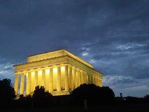 Washington DC monument at night. Lincoln memorial at dusk with clouds royalty free stock photo