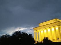 Washington DC monument at night. Lincoln memorial at dusk with clouds royalty free stock photography
