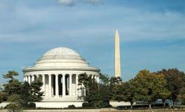 Washington DC Washington Monument och Jefferson Memorial Royaltyfri Foto