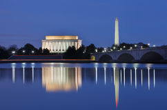 Washington DC Monuments at Night Stock Photo