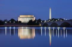 Washington DC Monuments at Night Stock Photo