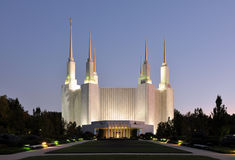 Washington DC Mormon Temple. Washington D.C. Temple belonging to The Church of Jesus Christ of Latter-day Saints in Maryland, USA Stock Photos