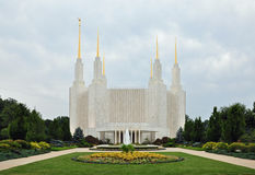 Washington DC Mormon Temple. Washington D.C. Temple belonging to The Church of Jesus Christ of Latter-day Saints in Maryland, USA Stock Images