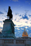 Washington DC in the morning. General grant statue in front of US capitol in the morning, Washington DC Royalty Free Stock Images