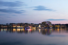 Washington DC National Harbor Waterfront at Night. A nightscape view of the National Harbor, a 300-acre new waterfront destination located on the banks of the Royalty Free Stock Photography