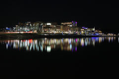 Washington DC National Harbor Waterfront at Night. A nightscape view of the National Harbor, a 300-acre new waterfront destination located on the banks of the Royalty Free Stock Image