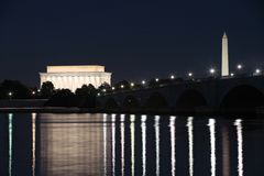 Washington, DC at Night Royalty Free Stock Photos