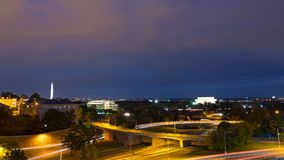 Washington DC night panorama with Lincoln Memorial and National Monument, USA. Royalty Free Stock Photo