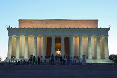 Washington DC night View. Lincoln Memorial at twilight from the reflection pond in early spring royalty free stock image