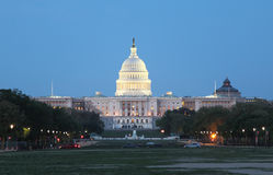 Washington DC night View. US Congress at twilight  from the meadow of the Mall in early spring Royalty Free Stock Images