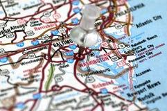 Washington DC no mapa Imagem de Stock Royalty Free