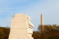 WASHINGTON DC - NOVEMBER 09, 2014: The Martin Luther King Jr Memorial and the National Monument on the National Mall in Washington Stock Photos