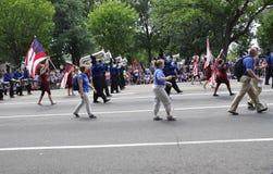 Washington DC, o 4 de julho de 2017: A parada para a parada do 4 de julho de Washington District de Colômbia EUA Fotografia de Stock Royalty Free