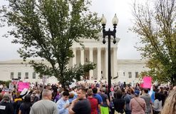 WASHINGTON, DC - OCTOBER 06, 2018: Supreme Court Protests again stock photos