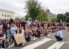 WASHINGTON, DC - OCTOBER 06, 2018: Supreme Court Protests again stock image