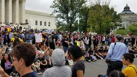 WASHINGTON, DC - OCTOBER 06, 2018: Supreme Court Protests against the Senate vote for the Associate Justice. WASHINGTON, DC - OCTOBER 06, 2018: Demonstrators stock video footage