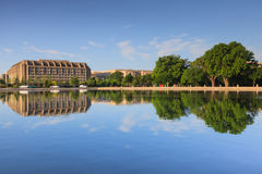 Washington DC Office Building Mirrored in Capitol Reflecting Pool Royalty Free Stock Photography