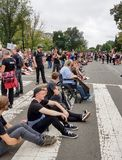 WASHINGTON, DC - 6 OTTOBRE 2018: La Corte suprema protesta ancora immagine stock libera da diritti