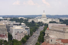 Washington DC, Pennsylvania Avenue, aerial view with federal buildings including US Capitol Royalty Free Stock Image