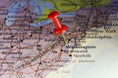 Washington DC pinned map Royalty Free Stock Image