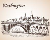 Washington DC principal de fleuve Potomac de pont de Roosevelt Island Photo libre de droits