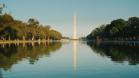4K video: Washington Monument with reflection in water. Washington, DC