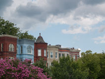 Washington DC Residential rooftops under dark clouds stock photography