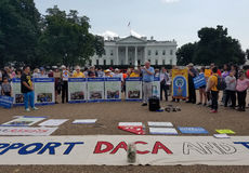 WASHINGTON DC - September 03, 2017: DACA- och DRÖMhandlingsprotester Arkivbild