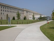 WASHINGTON, DC - SEPTEMBER 2004: Locals and tourists walk near the Pentagon main entrance. The Pentagon is the world's largest royalty free stock images